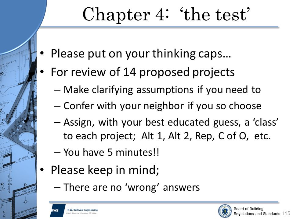 Chapter 4: 'the test' Please put on your thinking caps…