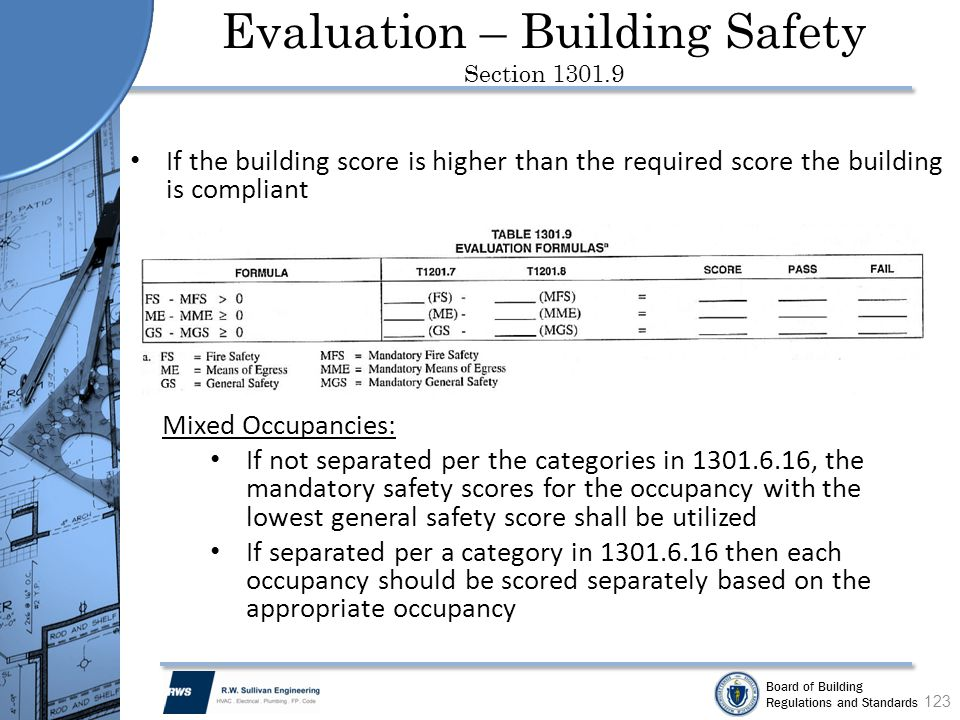 Evaluation – Building Safety Section 1301.9