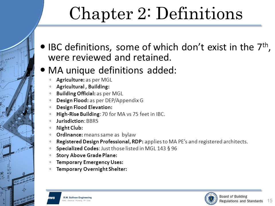 Chapter 2: Definitions IBC definitions, some of which don't exist in the 7th, were reviewed and retained.