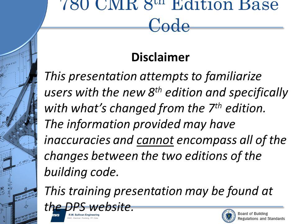 780 CMR 8th Edition Base Code