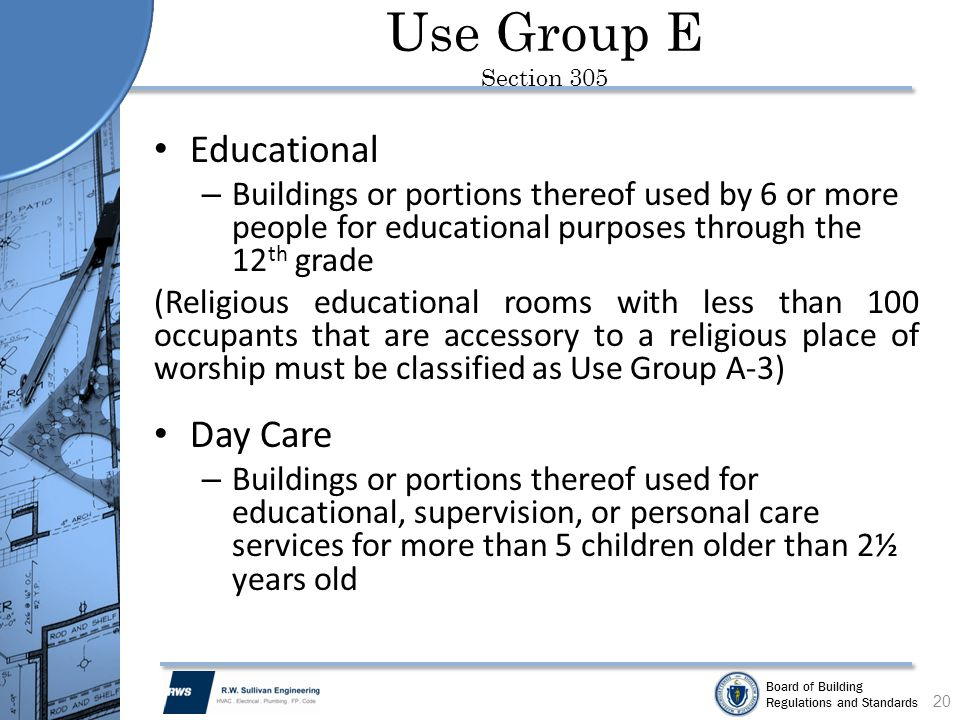 Use Group E Section 305 Educational Day Care