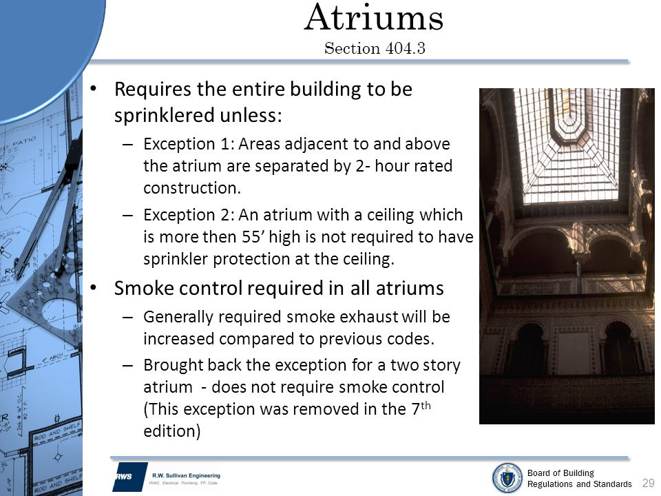 Atriums Section 404.3 Requires the entire building to be sprinklered unless: