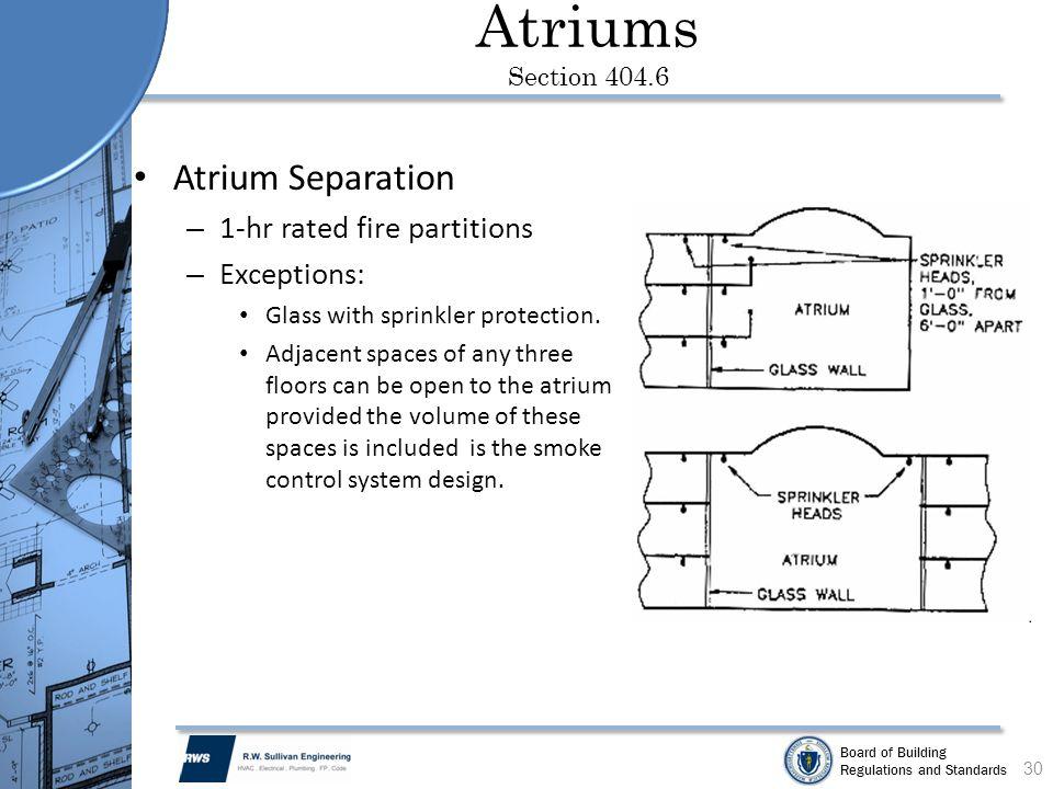 Atriums Section 404.6 Atrium Separation 1-hr rated fire partitions