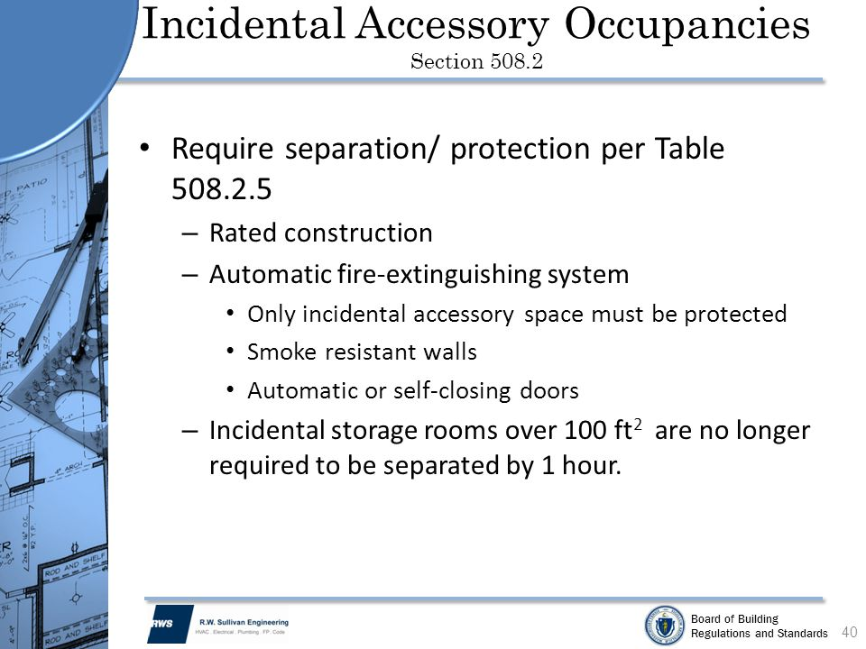 Incidental Accessory Occupancies Section 508.2