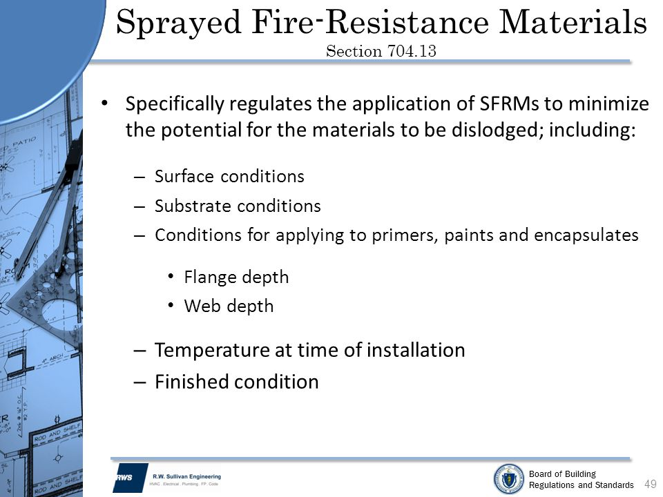 Sprayed Fire-Resistance Materials Section 704.13