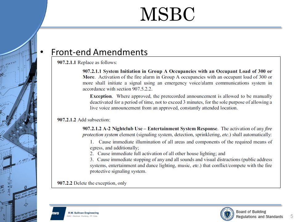 MSBC Front-end Amendments