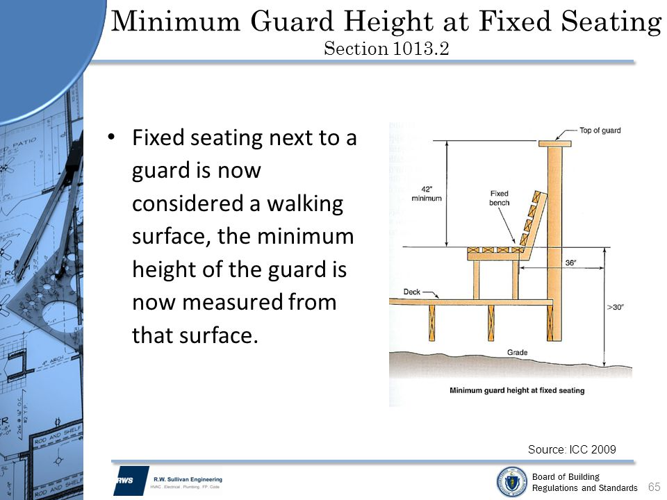 Minimum Guard Height at Fixed Seating Section 1013.2