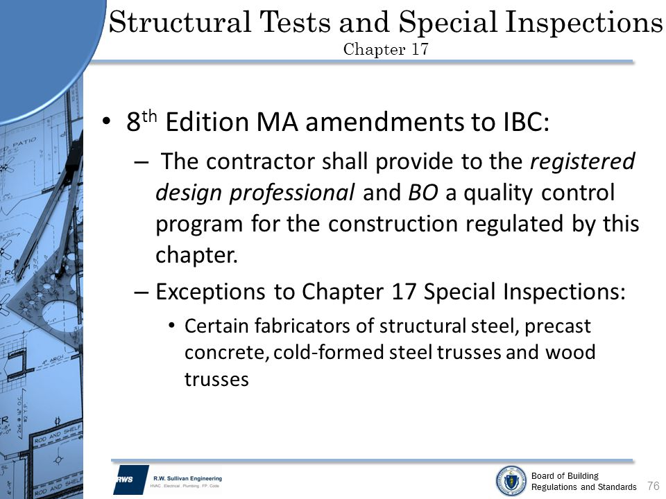 Structural Tests and Special Inspections Chapter 17