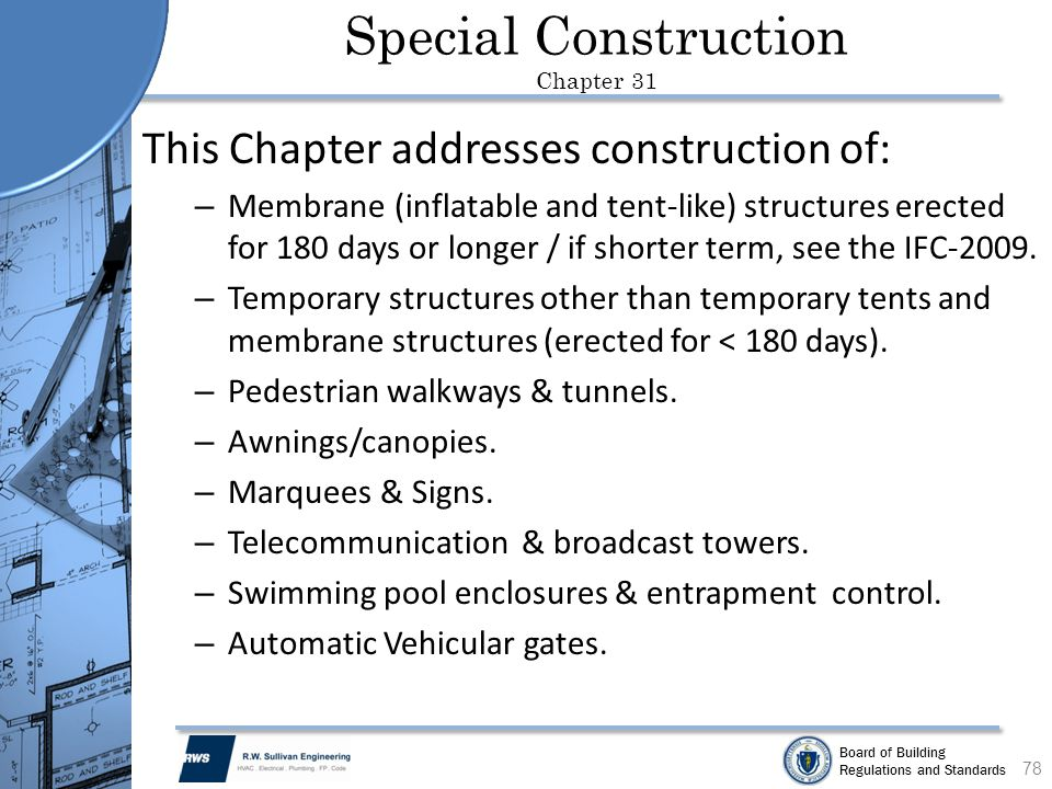 Special Construction Chapter 31