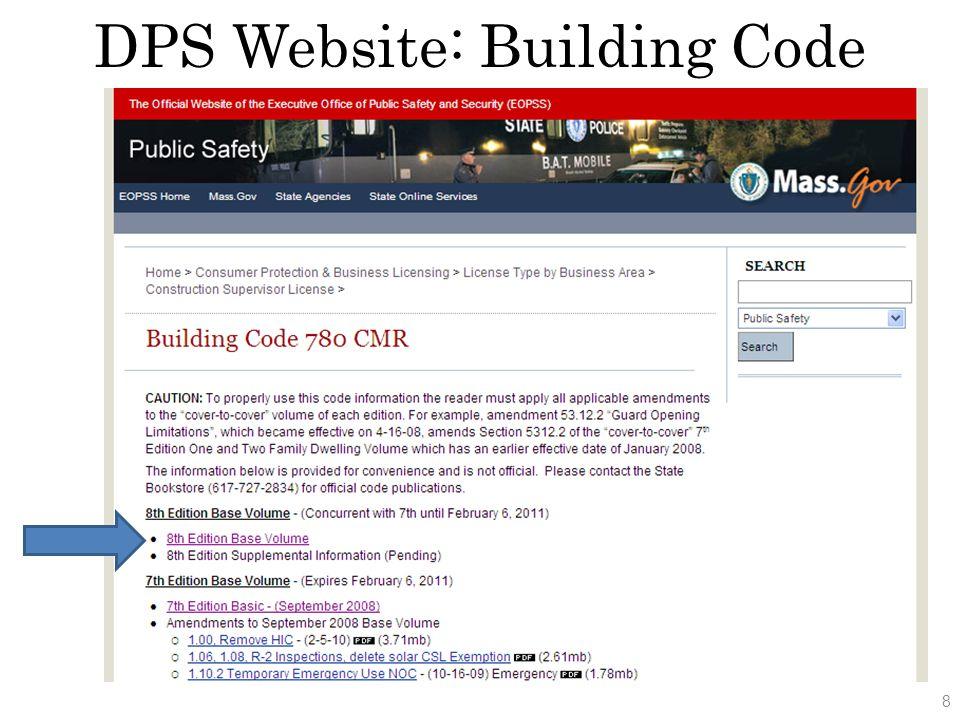 DPS Website: Building Code