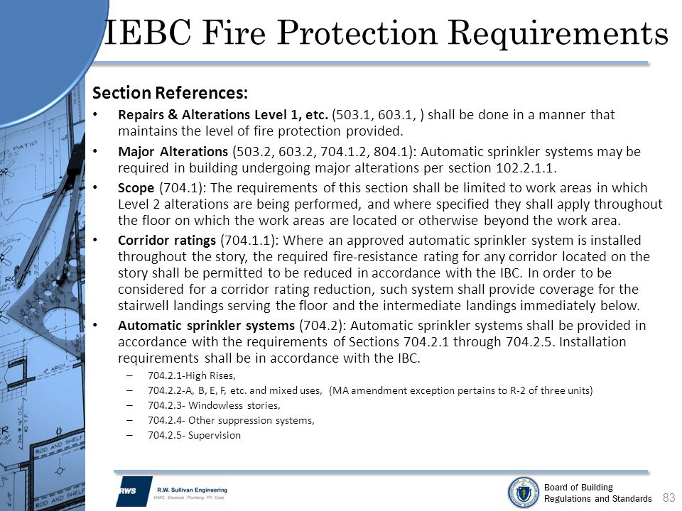 IEBC Fire Protection Requirements