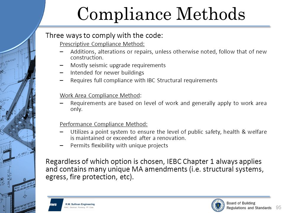 Compliance Methods Three ways to comply with the code: