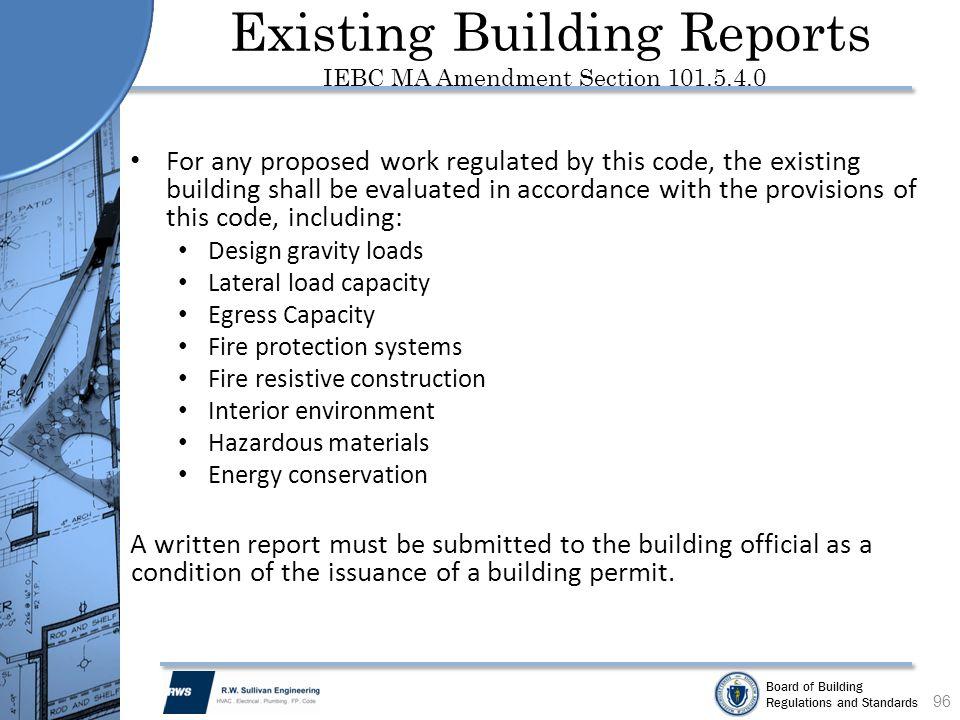 Existing Building Reports IEBC MA Amendment Section 101.5.4.0