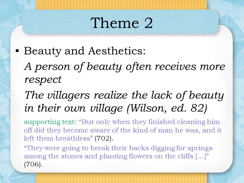 Theme 2 Beauty and Aesthetics: