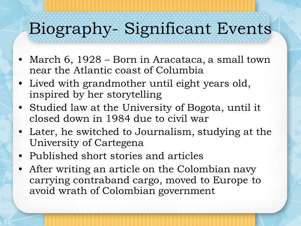 Biography- Significant Events