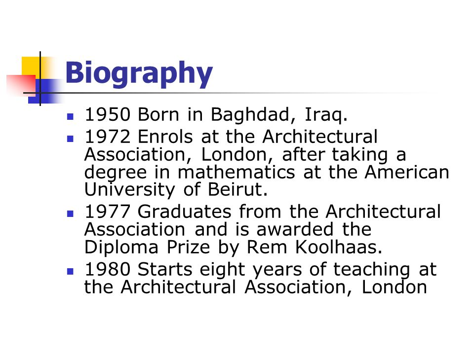 Biography 1950 Born in Baghdad, Iraq.
