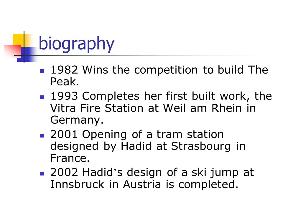 biography 1982 Wins the competition to build The Peak.