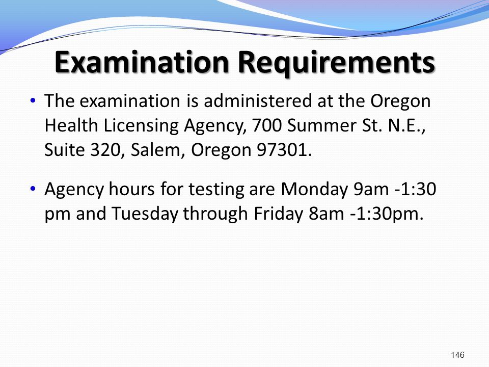 Examination Requirements