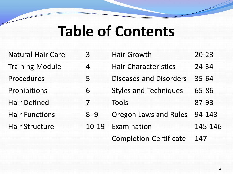 Table of Contents Natural Hair Care 3 Hair Growth 20-23