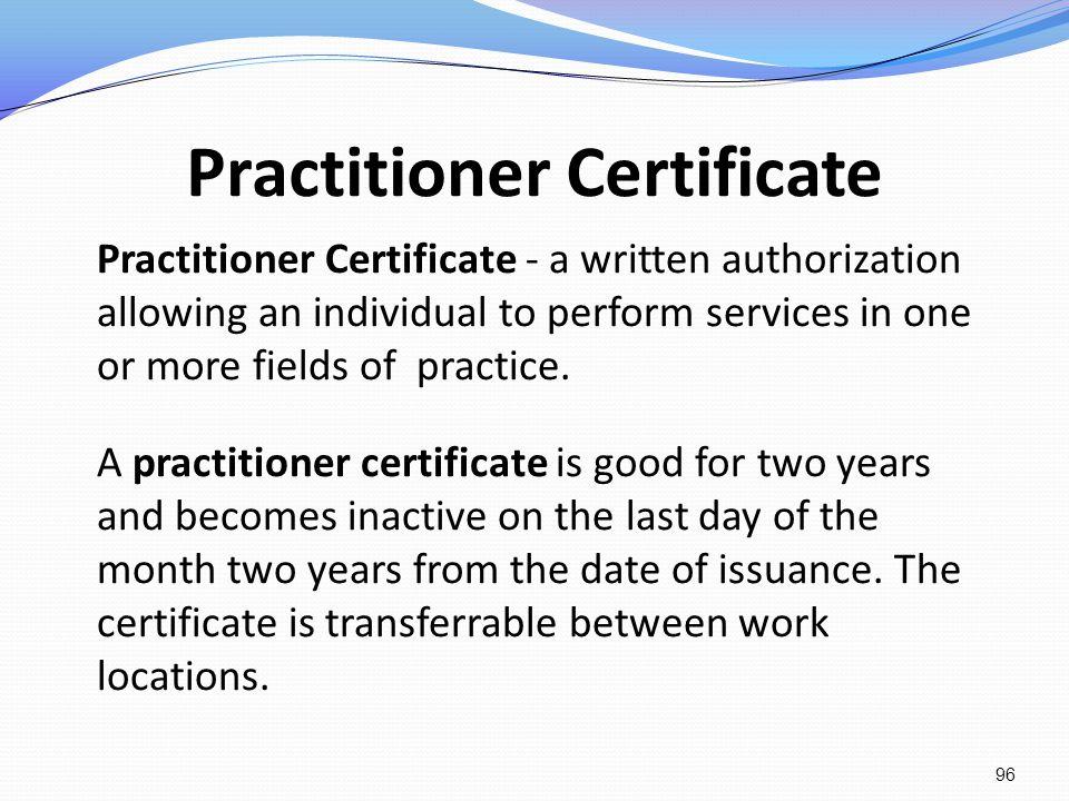 Practitioner Certificate