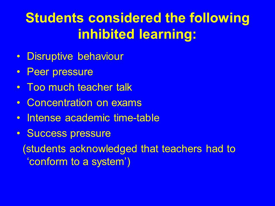 Students considered the following inhibited learning: