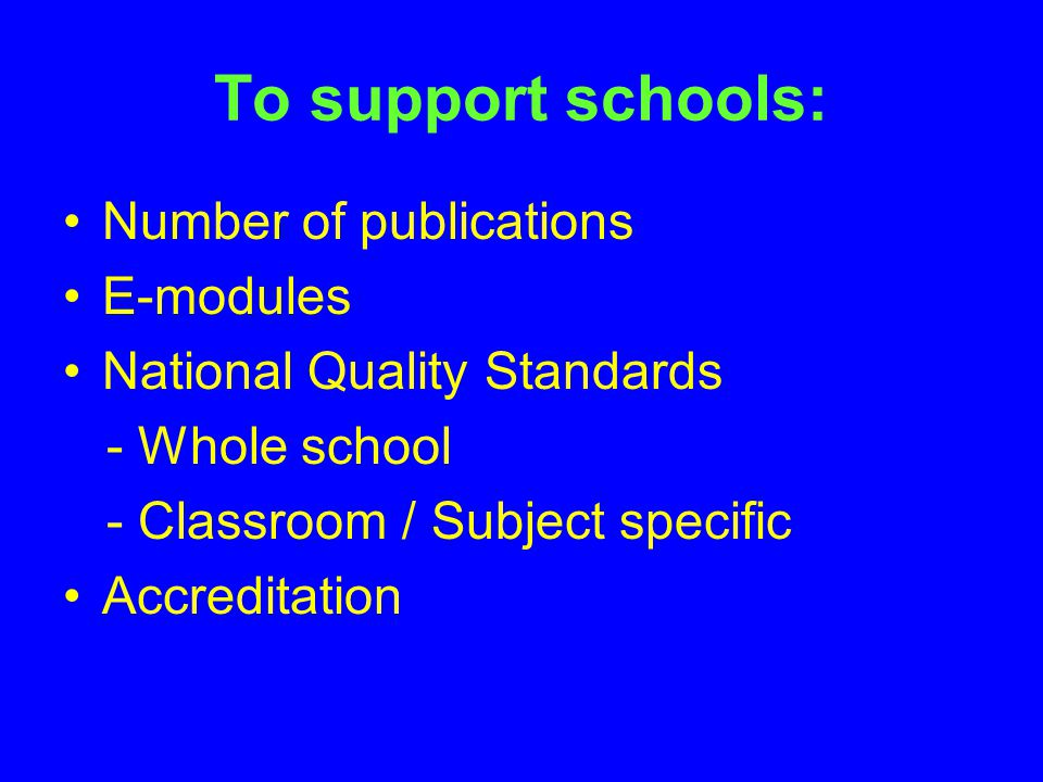 To support schools: Number of publications E-modules