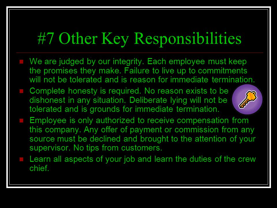#7 Other Key Responsibilities