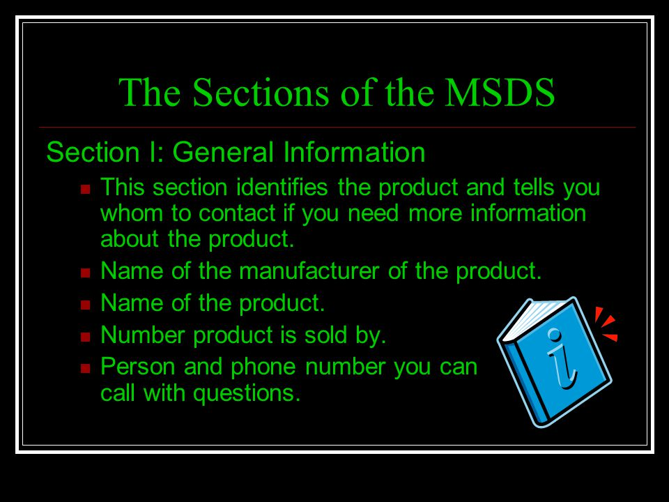 The Sections of the MSDS