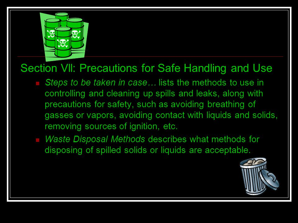 Section Vll: Precautions for Safe Handling and Use