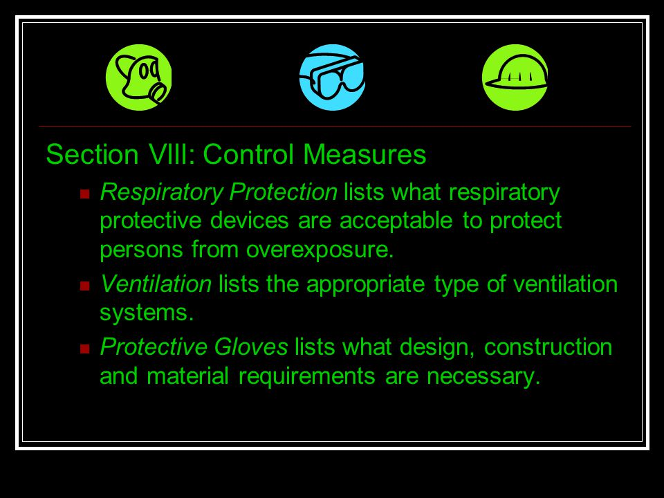 Section Vlll: Control Measures
