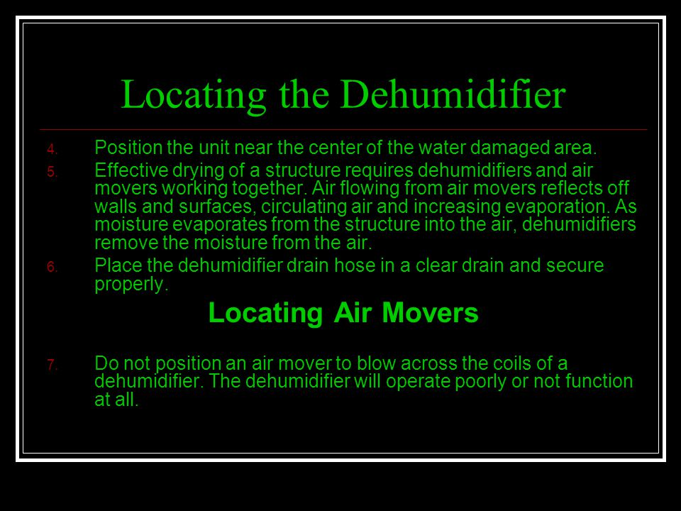 Locating the Dehumidifier