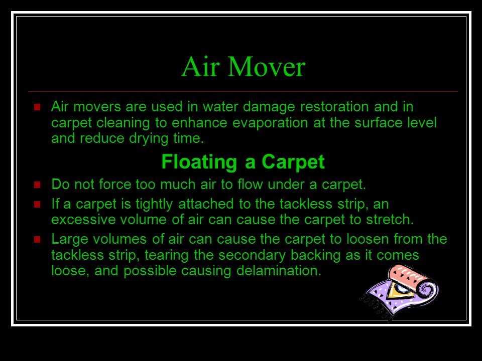 Air Mover Floating a Carpet