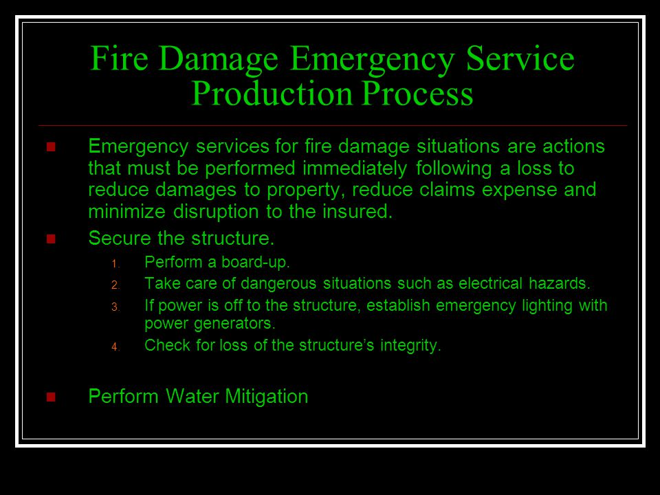 Fire Damage Emergency Service Production Process