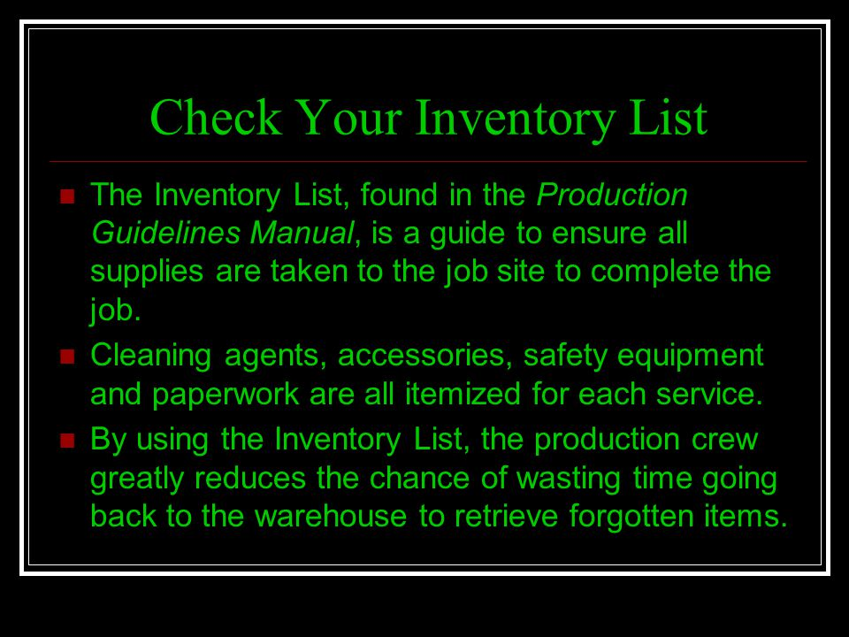 Check Your Inventory List
