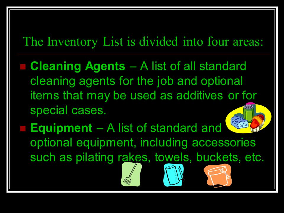 The Inventory List is divided into four areas: