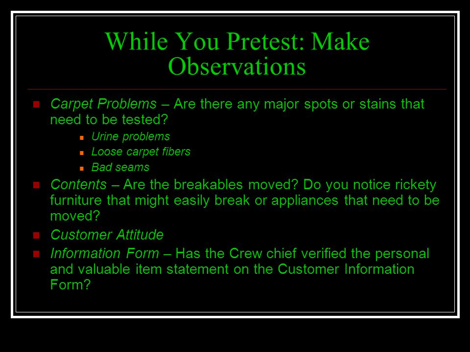 While You Pretest: Make Observations