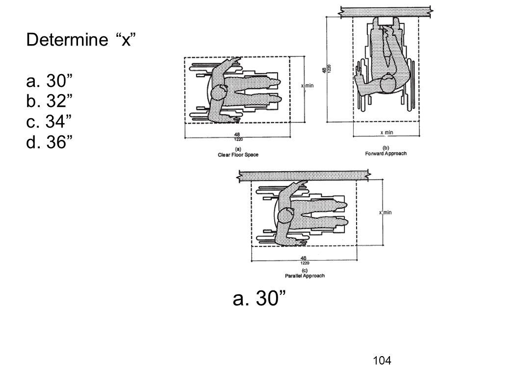 Determine x a. 30 b. 32 c. 34 d. 36