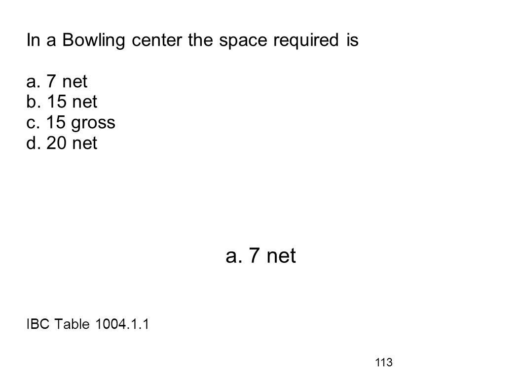 In a Bowling center the space required is a. 7 net b. 15 net c