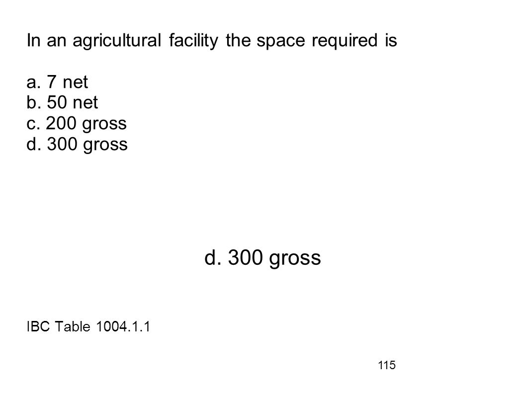 In an agricultural facility the space required is a. 7 net b. 50 net c