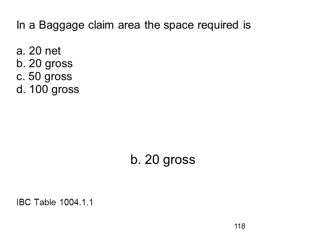 In a Baggage claim area the space required is a. 20 net b. 20 gross c