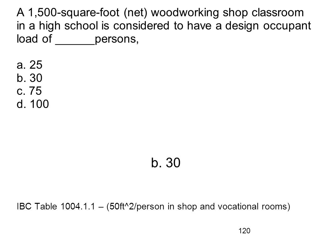 A 1,500-square-foot (net) woodworking shop classroom in a high school is considered to have a design occupant load of ______persons, a. 25 b. 30 c. 75 d. 100