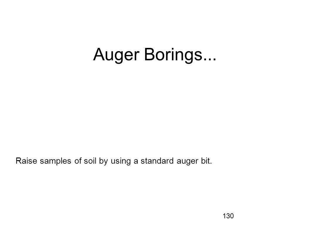 Raise samples of soil by using a standard auger bit.