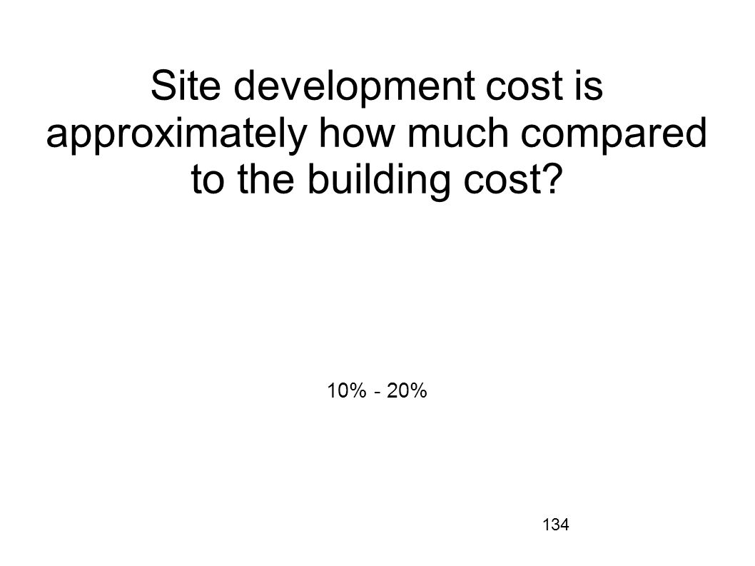 Site development cost is approximately how much compared to the building cost