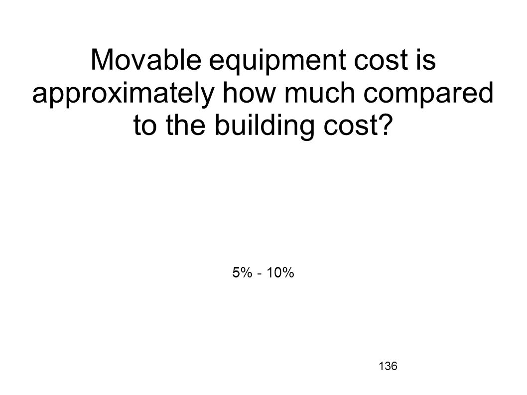 Movable equipment cost is approximately how much compared to the building cost