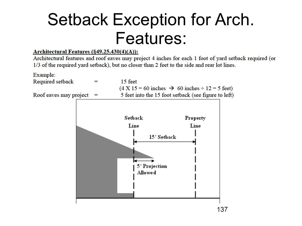 Setback Exception for Arch. Features: