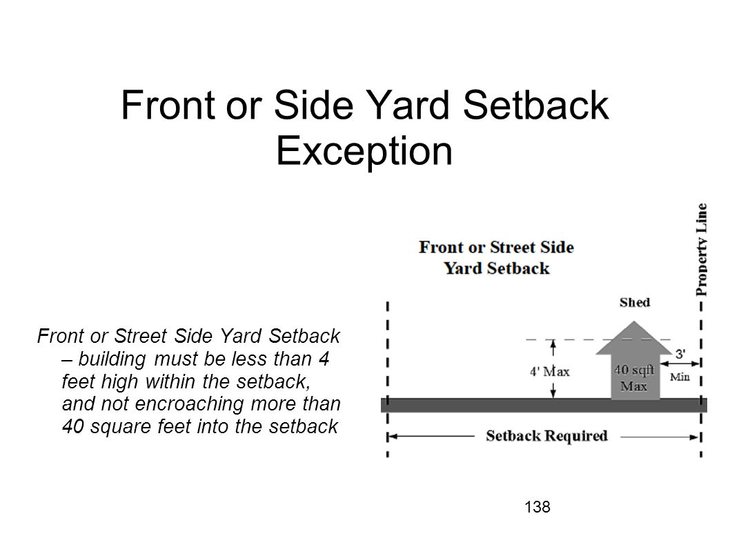 Front or Side Yard Setback Exception