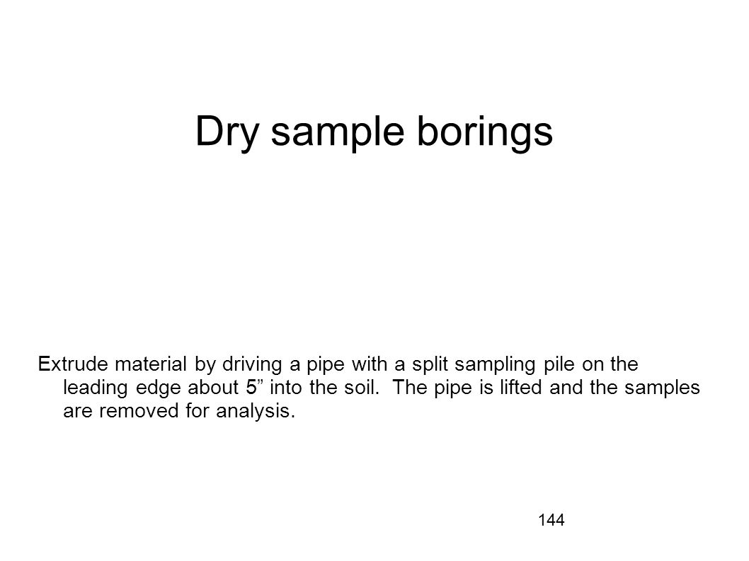 Dry sample borings