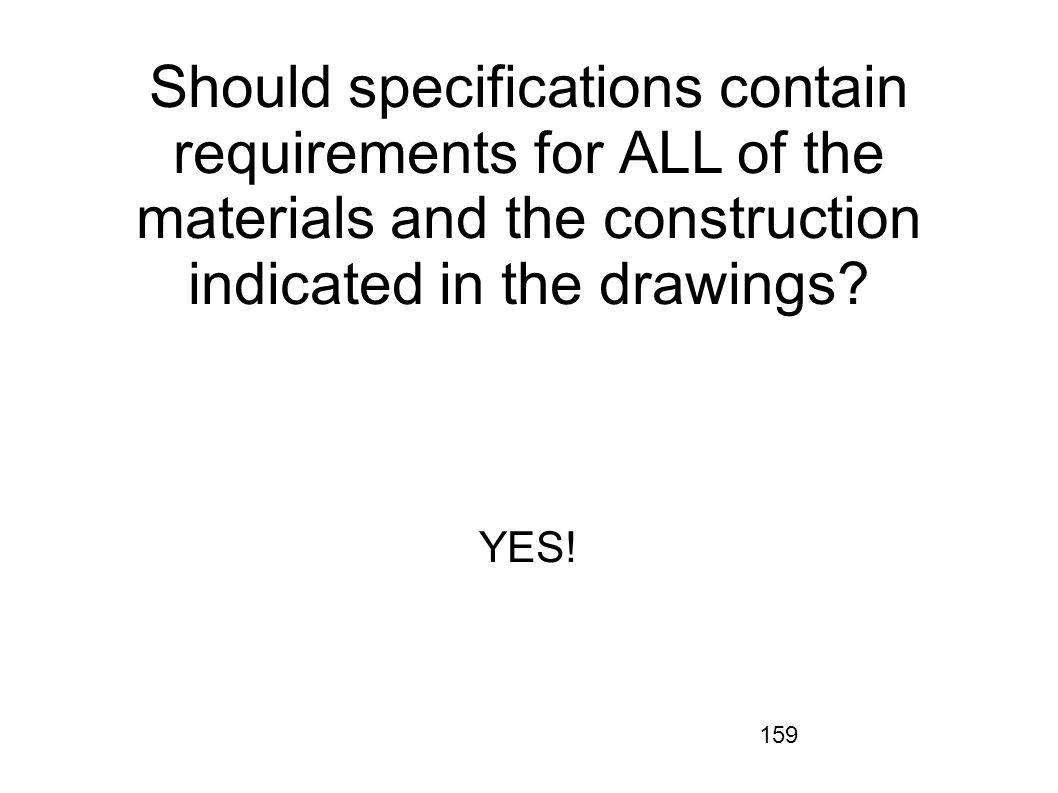 Should specifications contain requirements for ALL of the materials and the construction indicated in the drawings