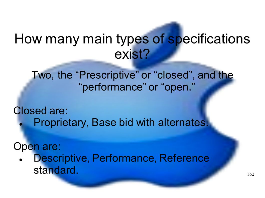 How many main types of specifications exist