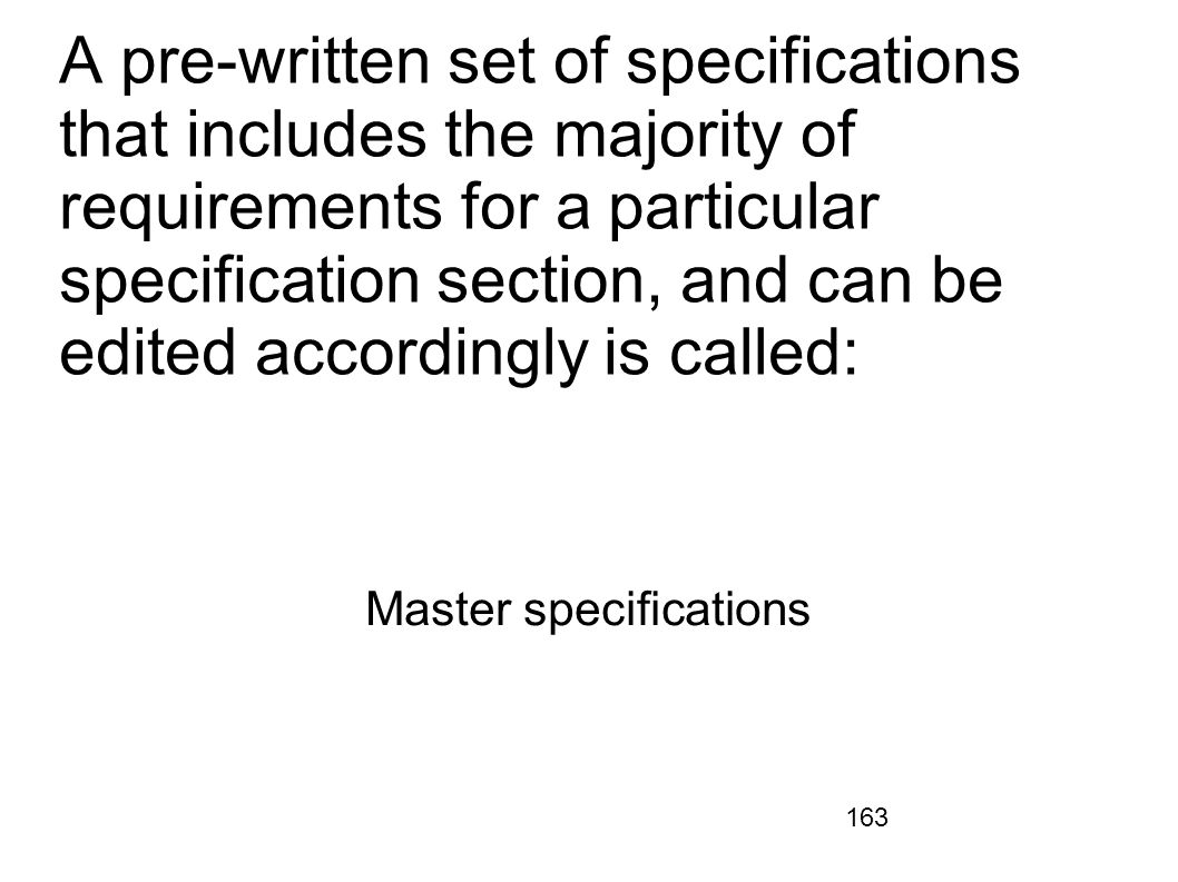 Master specifications